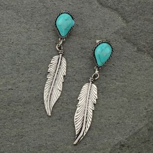 Jewelry - Western Teardrop Feather Fish Hook Earrings